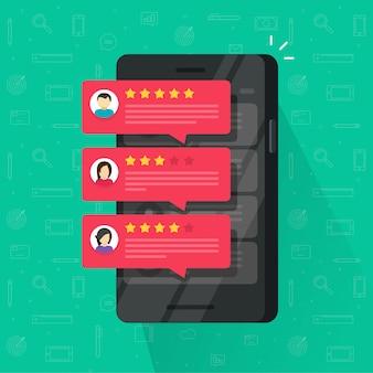 Bulles d'avis de commentaires ou de commentaires sur un téléphone portable ou un téléphone portable plat illustration de dessin animé