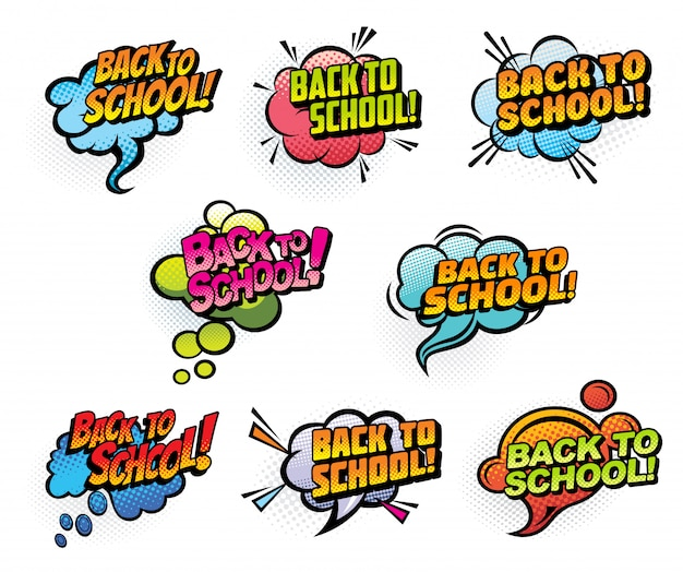 Bulles de bande dessinée de retour à l'école