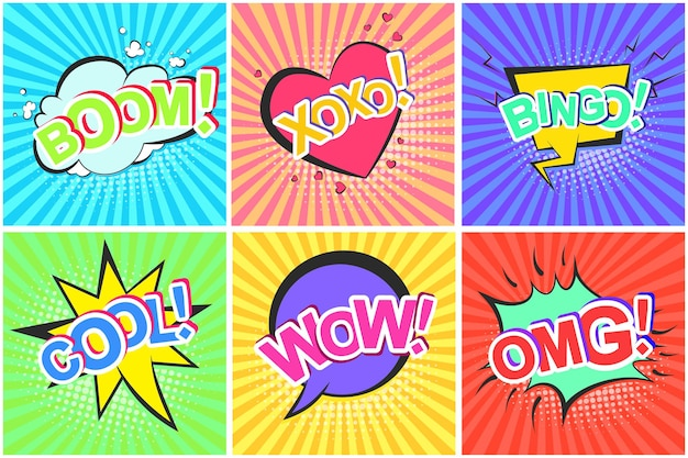 Bulles de bande dessinée rétro avec omg wow cool boom