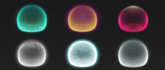 Bulles de bouclier de force, sphères brillantes d'énergie ou champs de dôme de défense