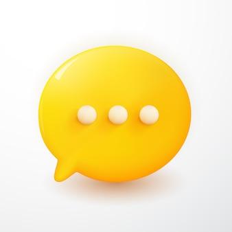 Bulles de chat jaunes minimes 3d modernes sur fond blanc. concept de messages de médias sociaux. illustration de rendu 3d