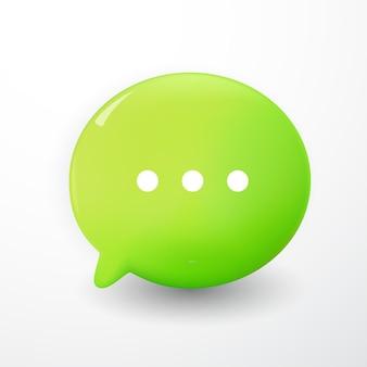 Bulles de chat vertes minimes 3d sur fond blanc. concept de messages de médias sociaux. illustration de rendu 3d