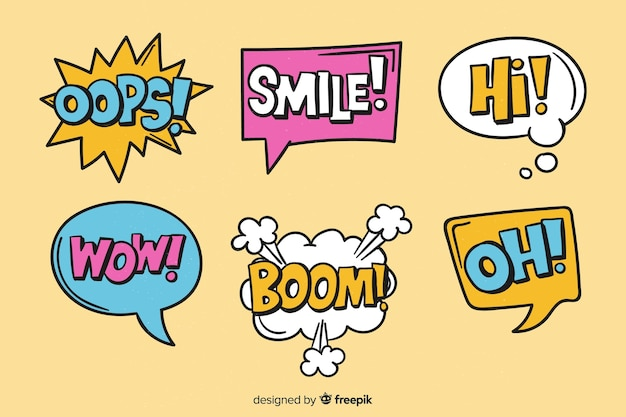 Bulles colorées avec différentes expressions