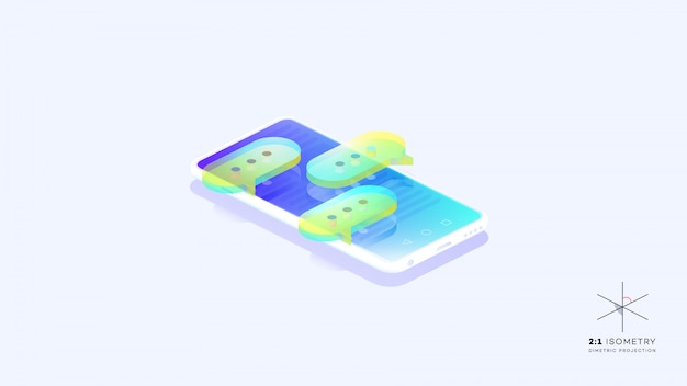 Bulles colorées sur téléphone mobile.