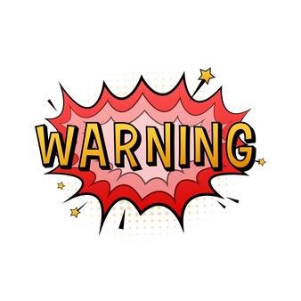Bulles comiques avec avertissement de texte. illustration de dessin animé vintage. symbole, étiquette autocollante, étiquette d'offre spéciale, badge publicitaire. illustration vectorielle