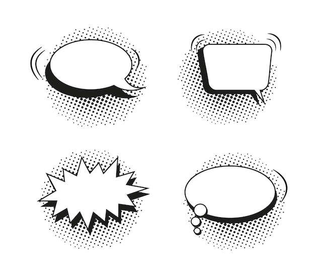 Bulles comiques. ballons pop art avec effet de demi-teinte. illustration vectorielle.