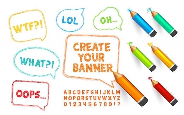 Bulles, crayons et polices de griffonnages. ensemble de bannières de gribouillis, crayons de couleur et alphabet avec des nombres