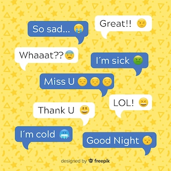 Des bulles de design plat avec des emojis le long des expressions