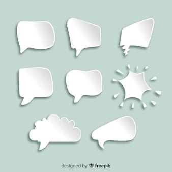 Bulles de dessin animé de chat plat dans le style de papier