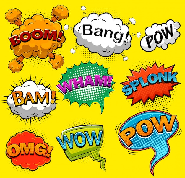 Bulles de dialogue comiques. effets sonores. illustration
