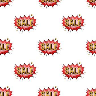 Bulles de dialogue comiques avec motif de vente de texte. illustration de dessin animé vintage. illustration vectorielle de stock.