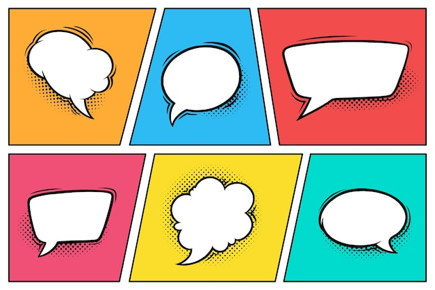 Bulles de dialogue comiques avec des ombres en demi-teintes ensemble de boîtes de dialogue isolées en arrière-plan coloré