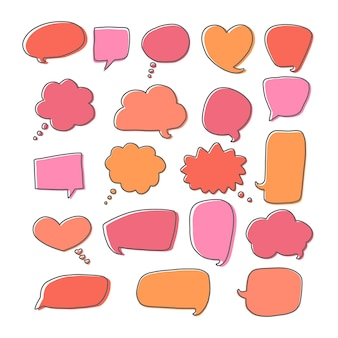 Bulles de dialogue de communication colorées vectorielles définies nuages de dialogue dessinés à la main