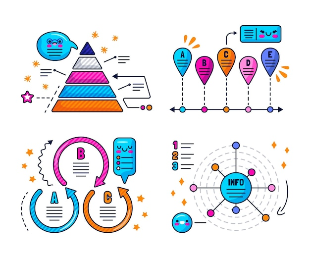 Bulles de dialogue kawaii, flèches et autocollants d'éléments infographiques