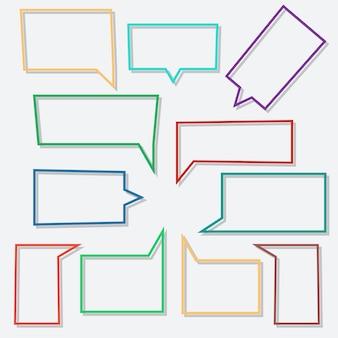 Bulles de dialogue linéaire en forme de rectangle avec des ombres