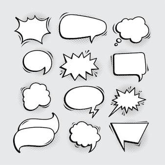Bulles de discours comiques vides de variation