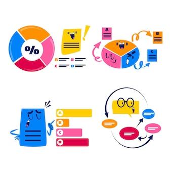 Bulles de discours de dessin animé rétro, flèches et autocollants d'éléments infographiques