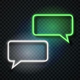 Bulles de discours rétro néon réalistes sur le fond transparent pour la décoration et la couverture. concept de message et de réseau.