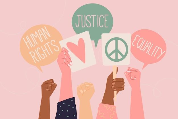 Bulles de discussion de la journée internationale des droits de l'homme