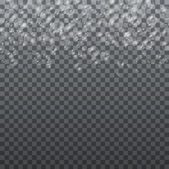 Bulles d'eau blanche avec jeu de réflexion, ensemble de bulles de savon colorées réalistes transparentes, illustration vectorielle