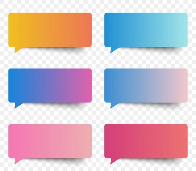 Bulles de message autocollant de couleur dégradé.