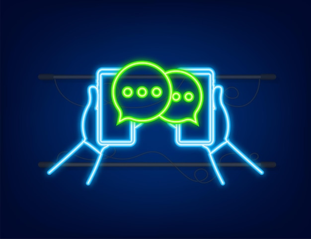 Bulles de message de chat sur l'écran du smartphone icône néon réseau social messagerie