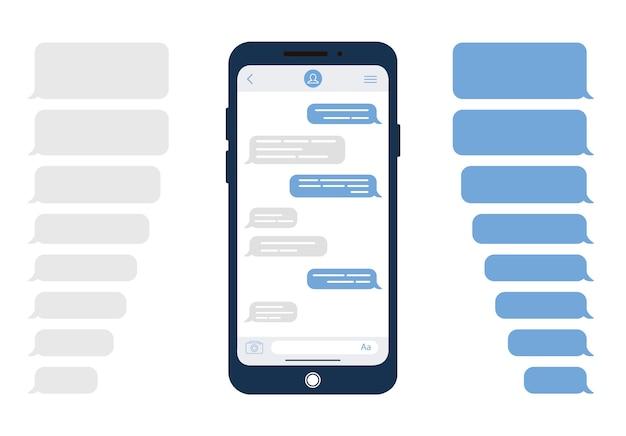 Bulles de message. modèle pour le chat de messager ou le site web. illustration moderne dans le style.