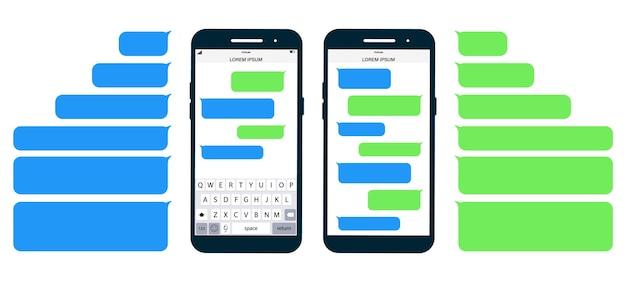 Bulles de messages plats. messages à l'écran téléphone design plat. bulles de service de messages courts