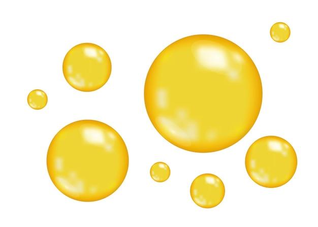 Bulles d'or brillant réaliste isolés sur fond blanc