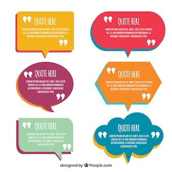 Bulles de parole en conception plate pour les phrases