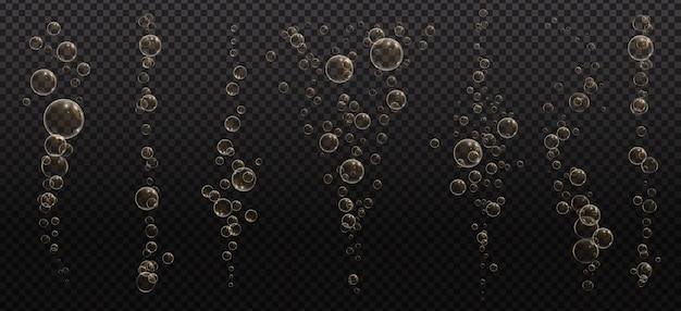Bulles pétillantes d'or. champagne pétille. boisson gazeuse et effervescente. bulles de soda et d'air frais abstraits, oxygène, cristal de champagne.
