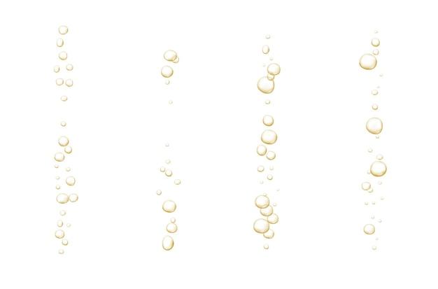 Bulles pétillantes d'or champagne scintillant soda frais abstrait et bulles d'air champagne oxygène