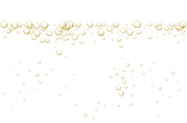 Bulles pétillantes d'or soda frais abstrait et bulles d'air cristal de champagne d'oxygène