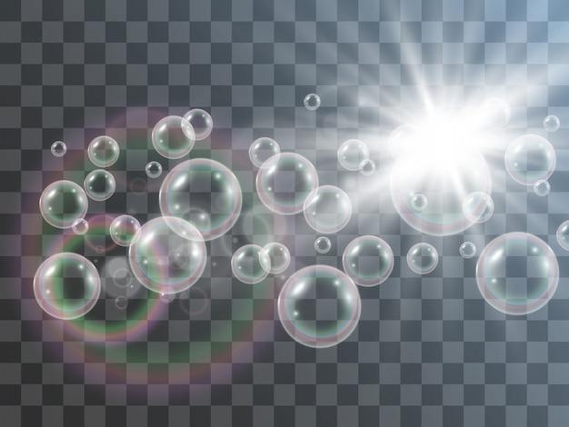 Bulles de savon à air sur fond transparent. illustration des ampoules.