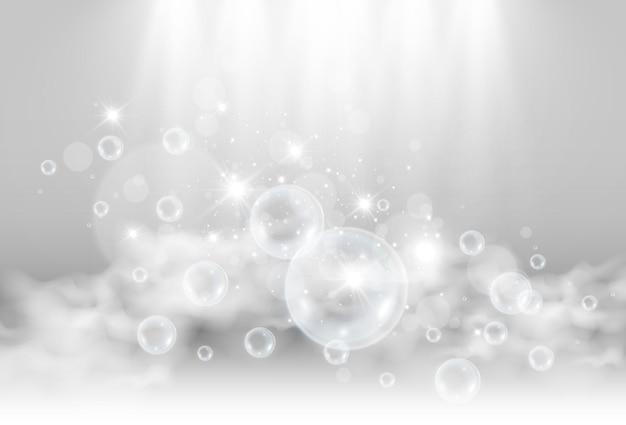 Bulles de savon d'air sur l'illustration transparente des ampoules