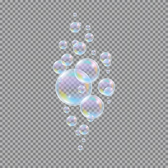 Bulles de savon. boules savonneuses à l'eau 3d réalistes sur transparent