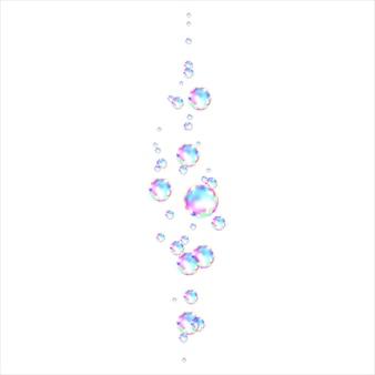 Bulles de savon colorées transparentes réalistes avec reflet arc-en-ciel isolés sur fond blanc. texture vectorielle.