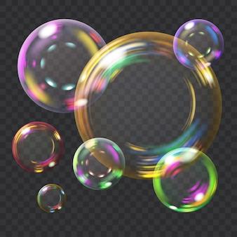 Bulles de savon transparentes multicolores avec éclats.