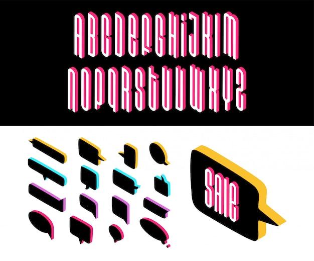 Bulles de style isométrique de discours de différentes formes avec police isométrique