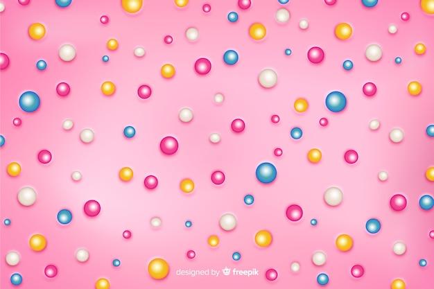 Bulles de sucre sur fond de beignet rose
