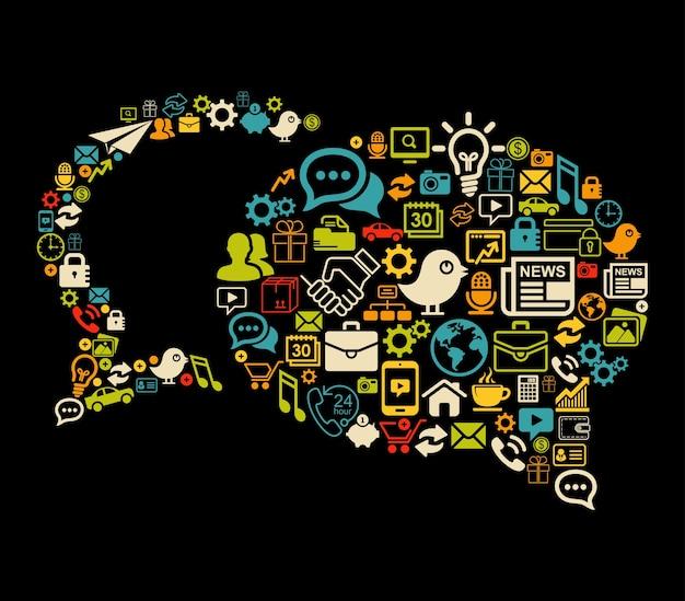 Bulles vectorielles faites avec des icônes de médias sociaux définies