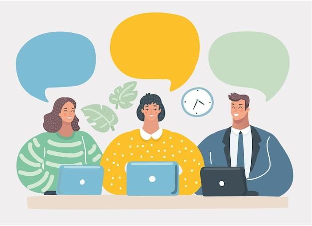 Bulles vides de communication d'équipe d'affaires