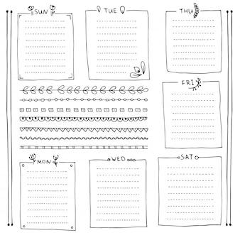 Bullet journal éléments dessinés à la main pour cahier, agenda et planificateur. bannières de doodle isolés sur fond blanc. jours de la semaine, notes, liste, cadres, diviseurs.
