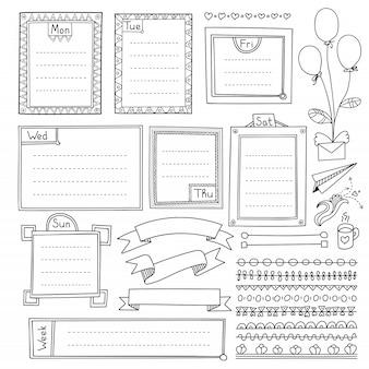 Bullet journal éléments dessinés à la main pour cahier, agenda et planificateur. bannières de doodle isolés sur fond blanc. jours de la semaine, notes, liste, cadres, séparateurs, rubans.
