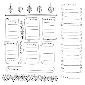 Bullet journal éléments dessinés à la main pour cahier, agenda et planificateur. bannières de doodle