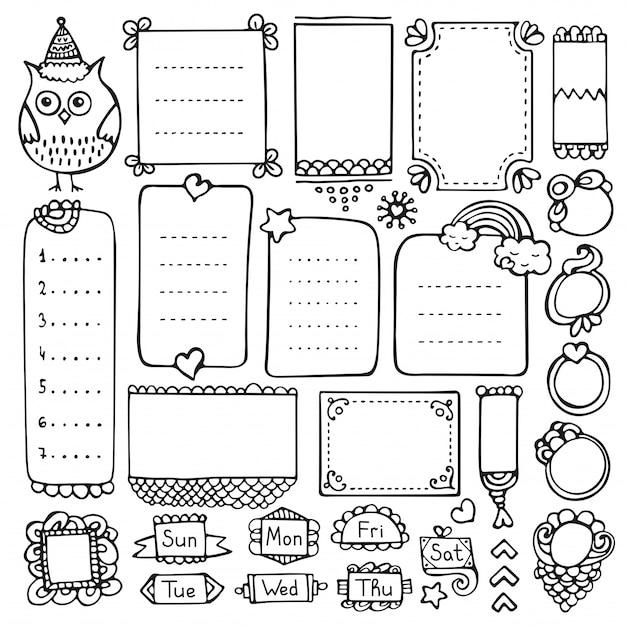 Bullet journal éléments dessinés à la main pour cahier, agenda et planificateur. cadres de doodle isolés