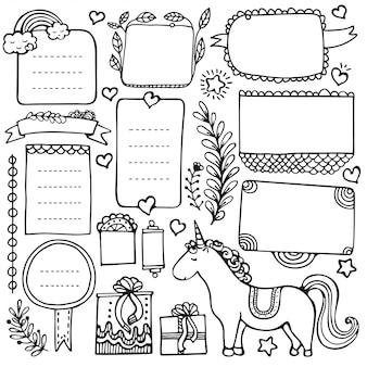 Bullet journal éléments dessinés à la main pour ordinateur portable, agenda et planificateur. cadres de doodle isolés sur fond blanc.