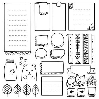 Bullet journal éléments vectoriels dessinés à la main pour ordinateur portable, agenda et planificateur. ensemble de cadres de doodle isolés.
