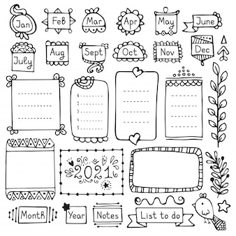 Bullet journal éléments vectoriels dessinés à la main pour ordinateur portable, agenda et planificateur.