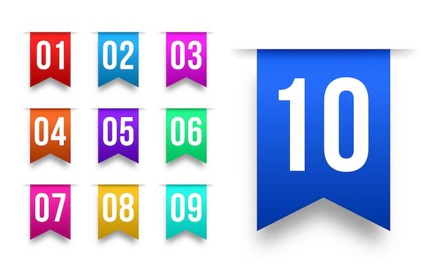 Bullet points numéros 1 à 12 marqueurs d'informations ensemble de rubans d'étiquettes colorées